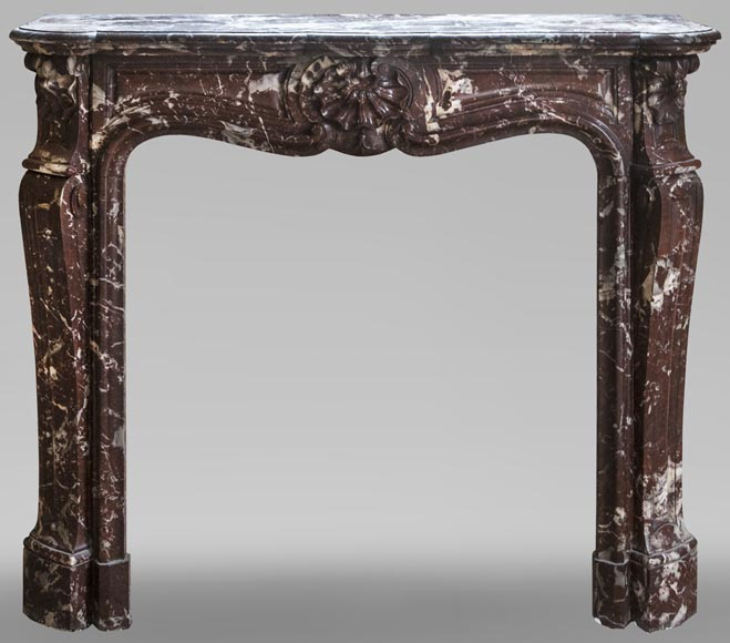 Beautiful antique Louis XV style fireplace in Red from the North Marble with three shells-0
