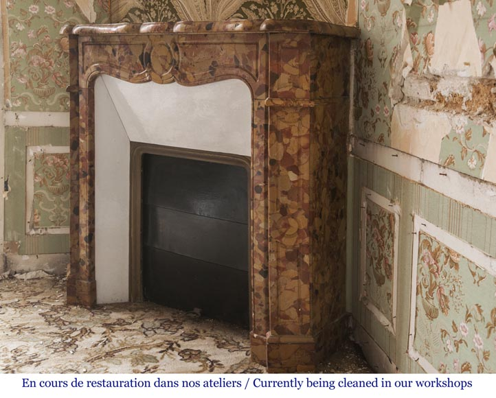 Pompadour style fireplace in Breche d'Alep marble-5