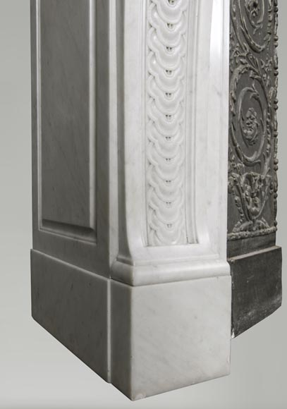 An antique Louis XVI style fireplace, made out of Carrara marble, entablature richly carved with garland of flowers-7