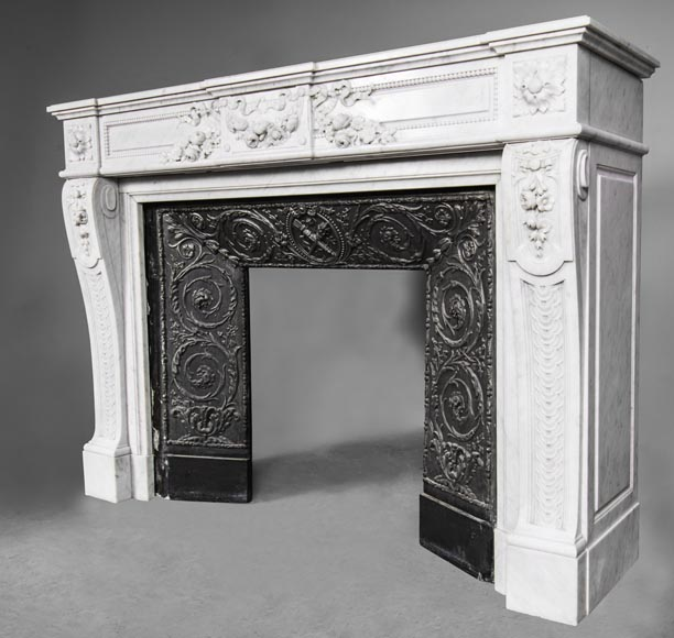 An antique Louis XVI style fireplace, made out of Carrara marble, entablature richly carved with garland of flowers-8