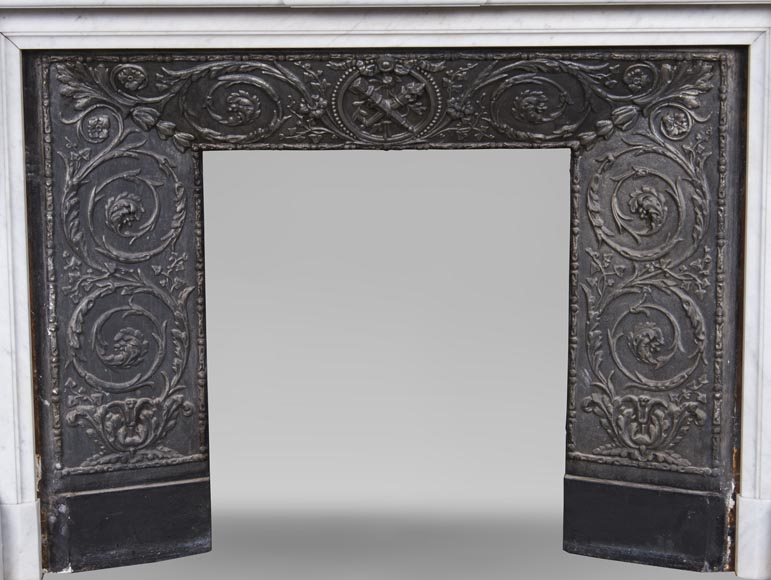 An antique Louis XVI style fireplace, made out of Carrara marble, entablature richly carved with garland of flowers-11