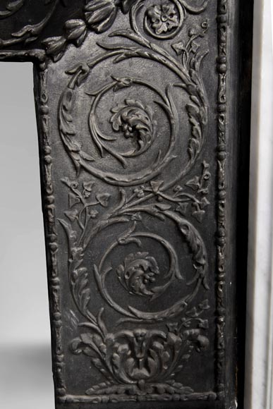 An antique Louis XVI style fireplace, made out of Carrara marble, entablature richly carved with garland of flowers-12