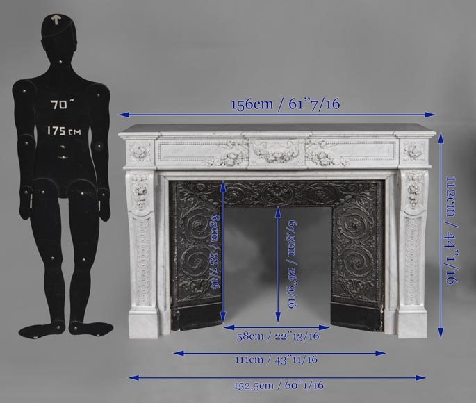 An antique Louis XVI style fireplace, made out of Carrara marble, entablature richly carved with garland of flowers-17