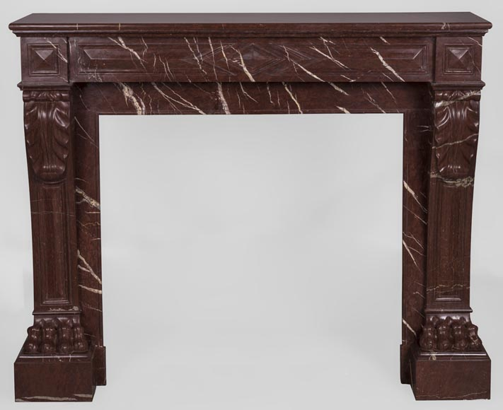 Antique Napoleon III style fireplace made out of Rouge Griotte marble with lion's paws and Acanthus leaves-0