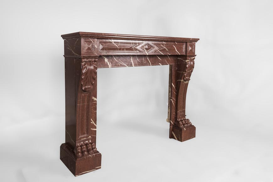Antique Napoleon III style fireplace made out of Rouge Griotte marble with lion's paws and Acanthus leaves-3