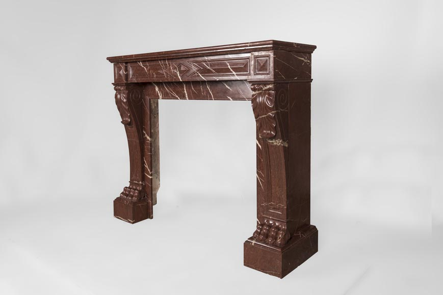 Antique Napoleon III style fireplace made out of Rouge Griotte marble with lion's paws and Acanthus leaves-6