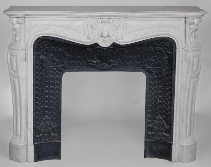 Antique Louis XV style fireplace made out of Carrara marble with three shells-0