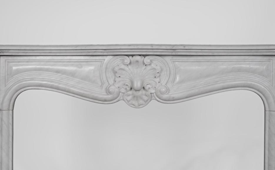 Antique Louis XV style fireplace made out of Carrara marble with three shells-1