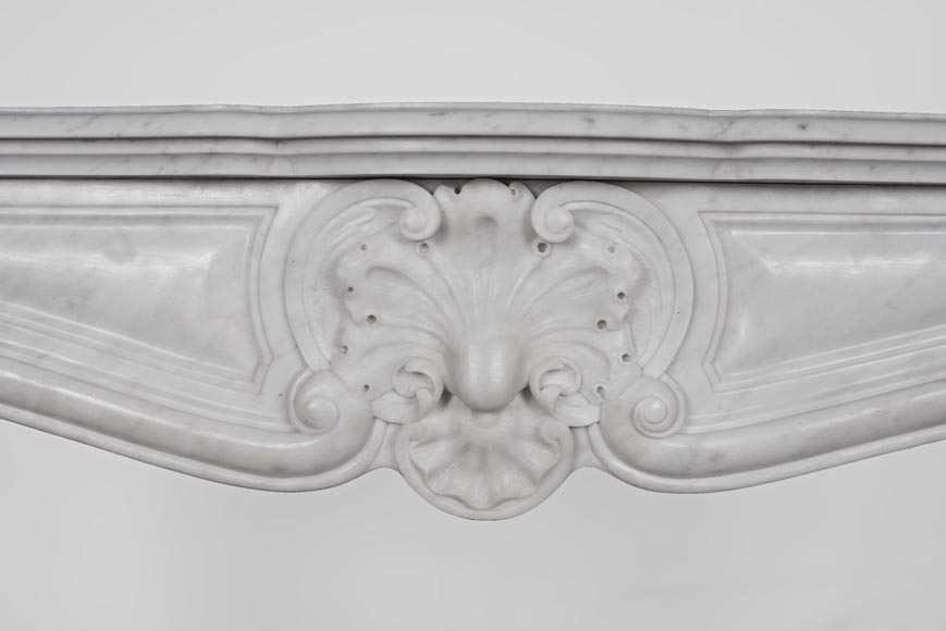 Antique Louis XV style fireplace made out of Carrara marble with three shells-2