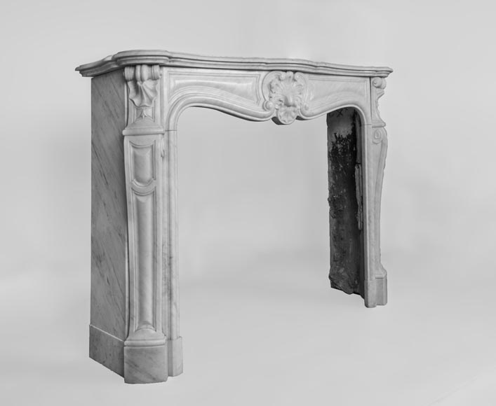Antique Louis XV style fireplace made out of Carrara marble with three shells-4