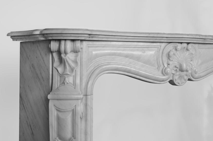 Antique Louis XV style fireplace made out of Carrara marble with three shells-5