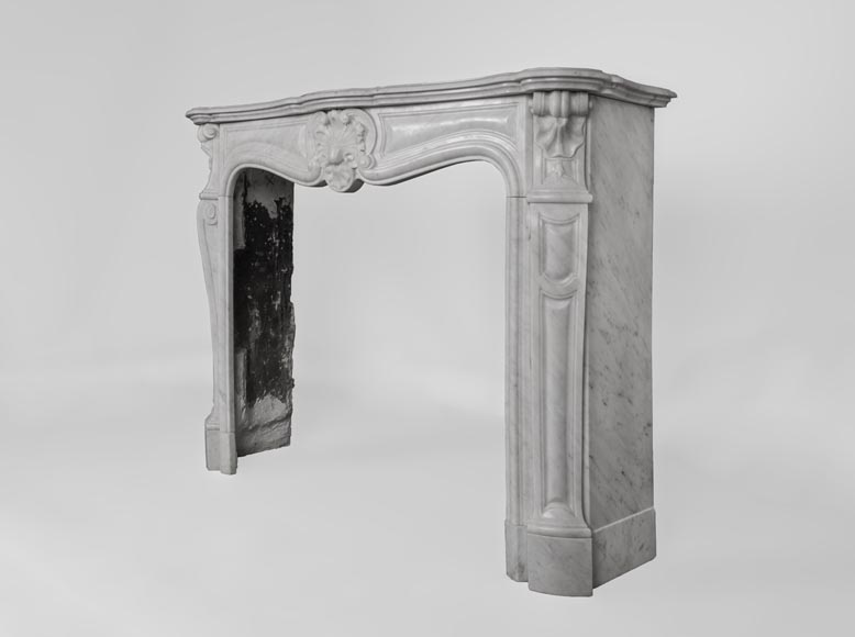 Antique Louis XV style fireplace made out of Carrara marble with three shells-8