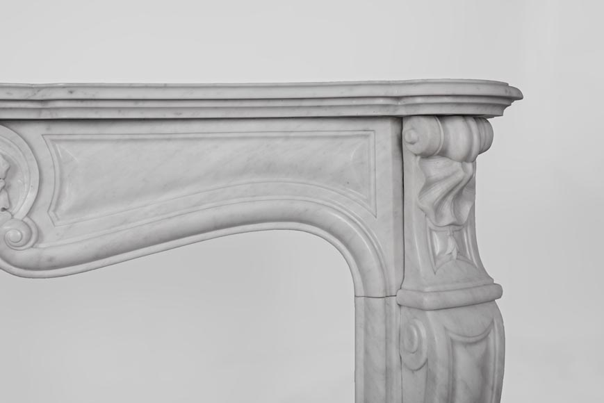 Antique Louis XV style fireplace made out of Carrara marble with three shells-9