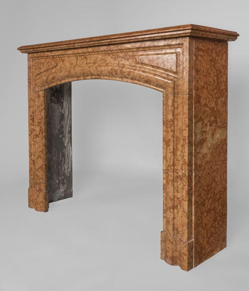 An antique Louis XIV style fireplace made out of Rosso di Verona marble-5