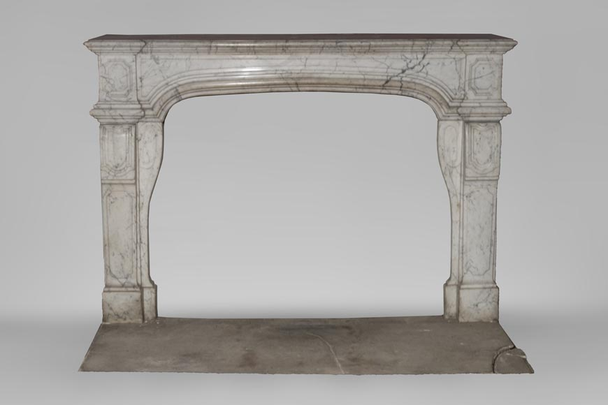 An antique Regence style fireplace made out of Carrara marble-0