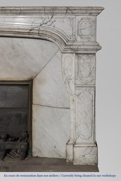 An antique Regence style fireplace made out of Carrara marble-3