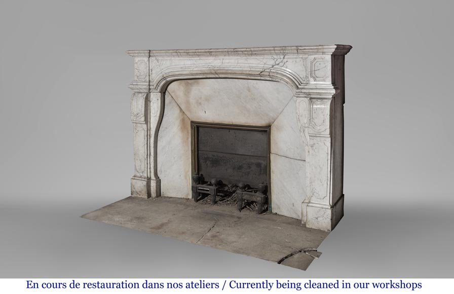 An antique Regence style fireplace made out of Carrara marble-4