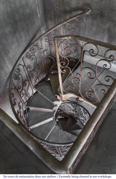 Beautiful spiral staircase with a wrought iron railing decorated with flowers and arabesques-3