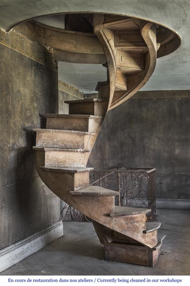 A spiral staircase made out of wood-0