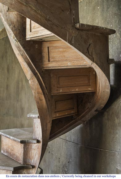 A spiral staircase made out of wood-2