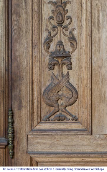 A beautiful set of carved wood two doors and dadoes-7