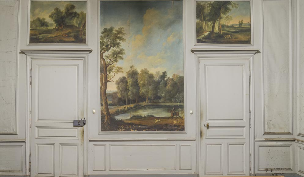 Wooden paneling with hunting scenes-0