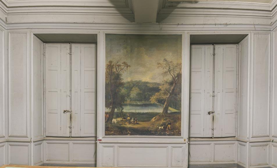 Wooden paneling with hunting scenes-12