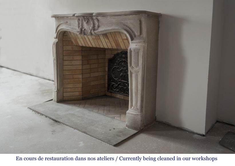 Beautiful antique Louis XV style fireplace made out of stone-6