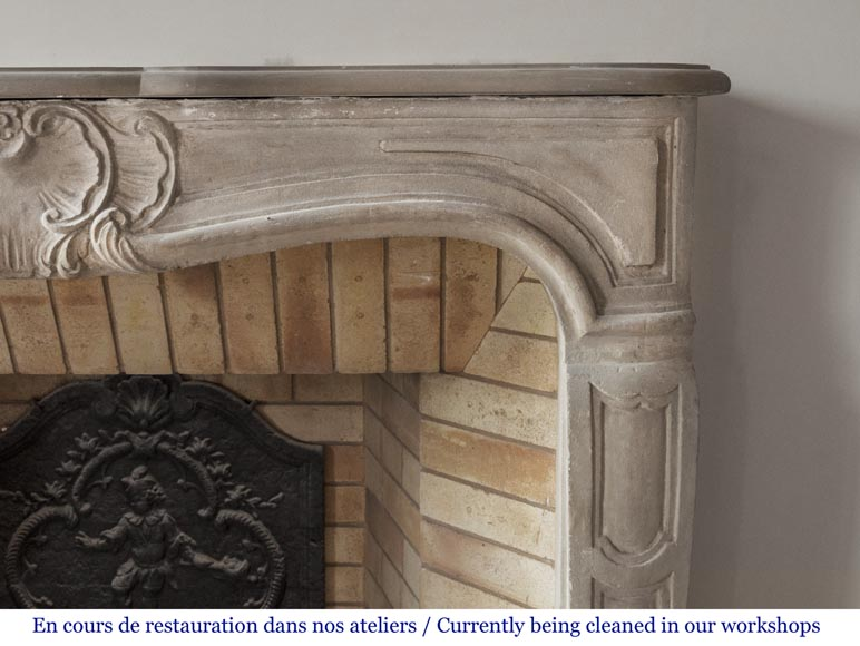 Beautiful antique Louis XV style fireplace made out of stone-7