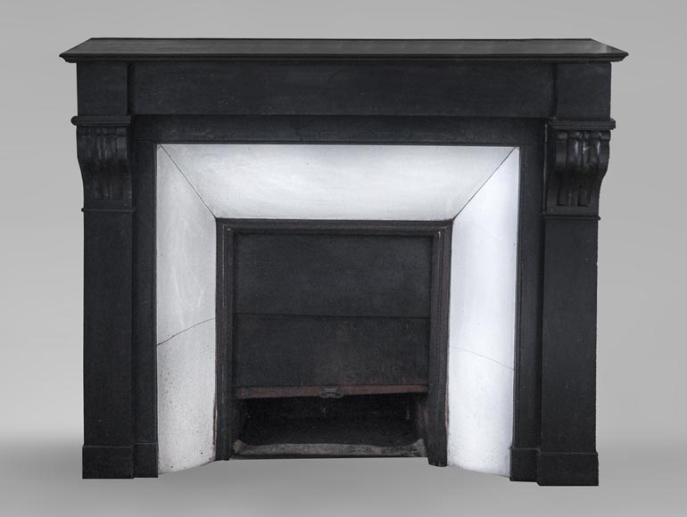 Antique fireplace with modillons made out of French black marble-0