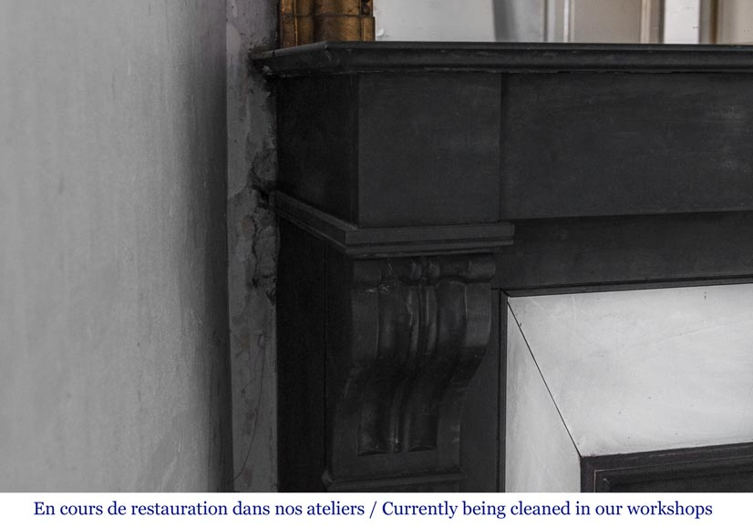 Antique fireplace with modillons made out of French black marble-2