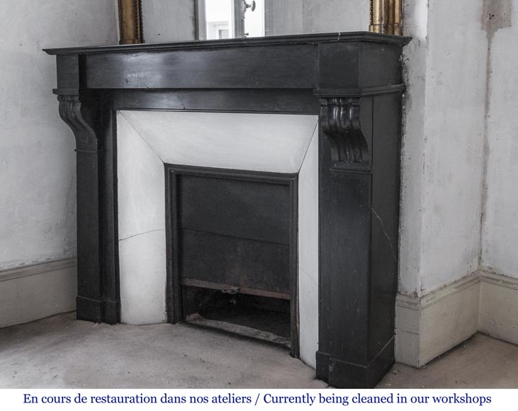 Antique fireplace with modillons made out of French black marble-4