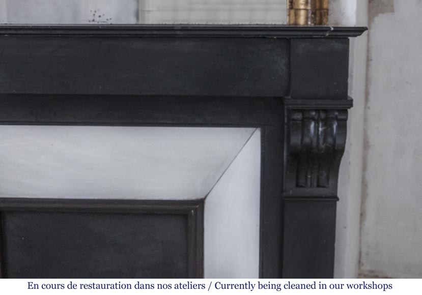 Antique fireplace with modillons made out of French black marble-5
