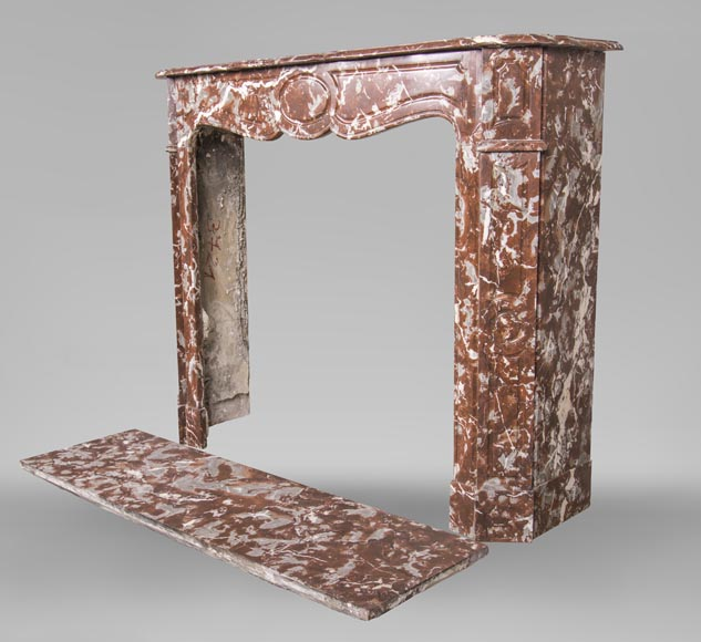 An antique Louis XV style fireplace, Pompadour model, made out of Rouge du Nord marble-5