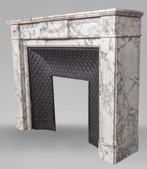 An antique Louis XVI style fireplace, with daisy garland, made out of Arabescato marble-3