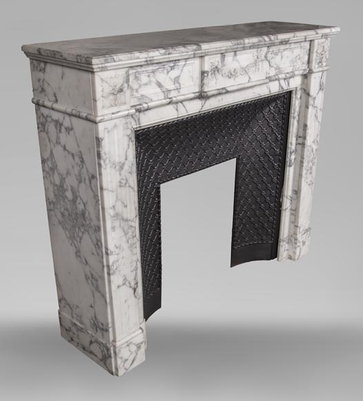 An antique Louis XVI style fireplace, with daisy garland, made out of Arabescato marble-7
