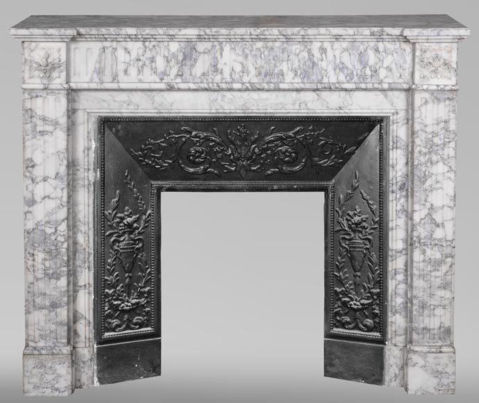 An antique Louis XVI style fireplace, with stop-fluted, made out of Arabescato marble-0