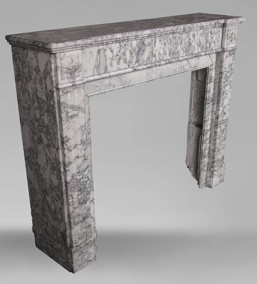An antique Louis XVI style fireplace, with stop-fluted, made out of Arabescato marble-2