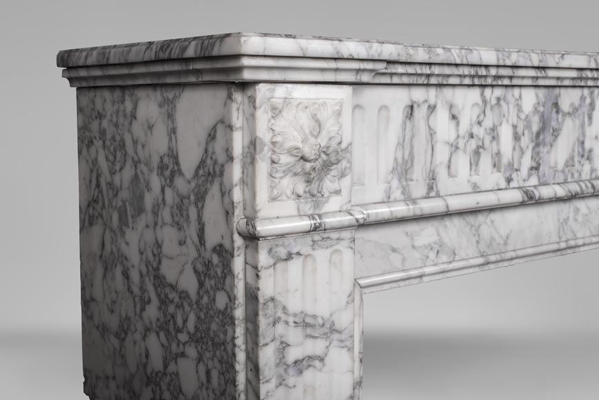 An antique Louis XVI style fireplace, with stop-fluted, made out of Arabescato marble-3