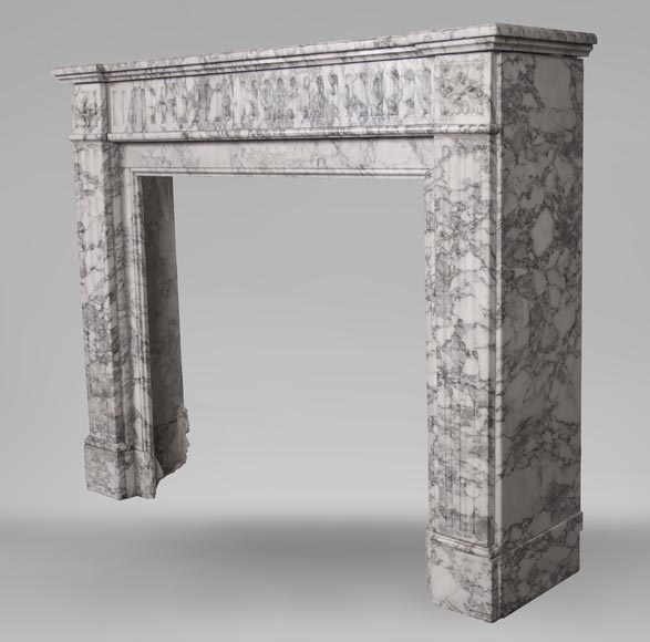 An antique Louis XVI style fireplace, with stop-fluted, made out of Arabescato marble-5