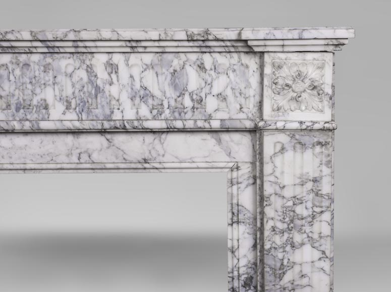 An antique Louis XVI style fireplace, with stop-fluted, made out of Arabescato marble-6