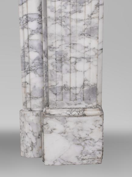An antique Louis XVI style fireplace, with stop-fluted, made out of Arabescato marble-7