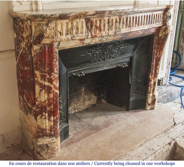 Antique Louis XVI style fireplace made out of marble with flutes-2