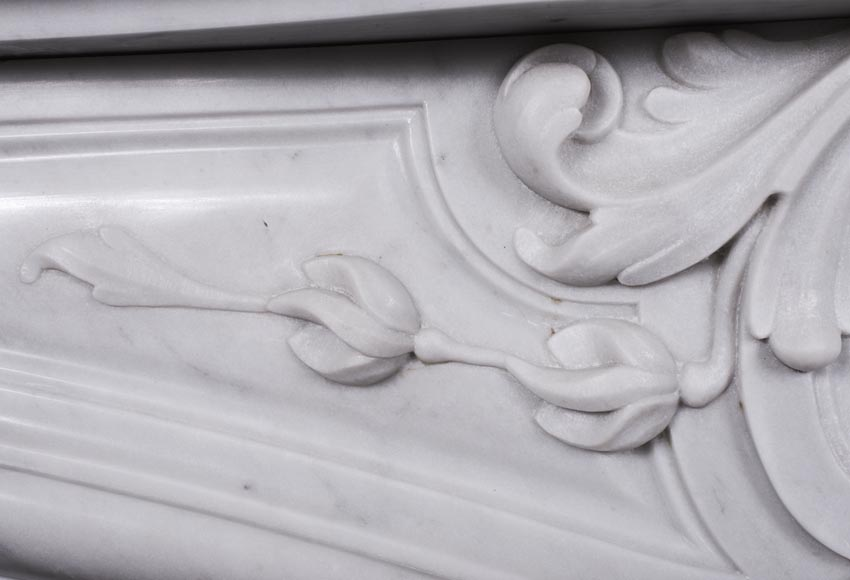 An antique Louis XV style fireplace made out of Carrara marble-3