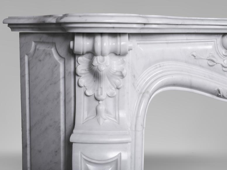 An antique Louis XV style fireplace made out of Carrara marble-5