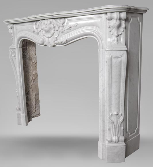 An antique Louis XV style fireplace made out of Carrara marble-7