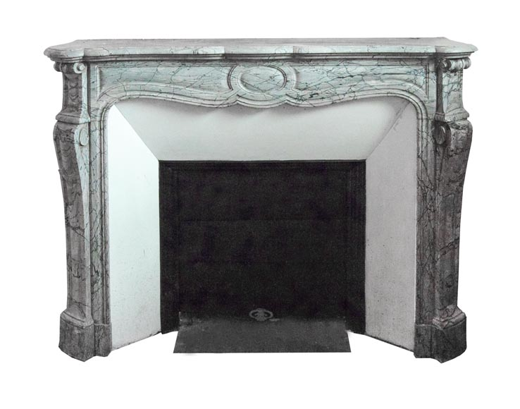 An antique Louis XV style fireplace, Pompadour model, made out of Bleu Fleuri marble-0