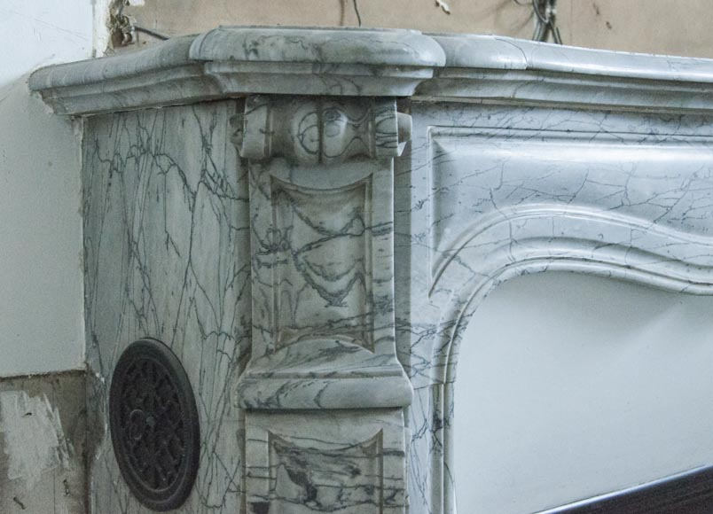 An antique Louis XV style fireplace, Pompadour model, made out of Bleu Fleuri marble-3