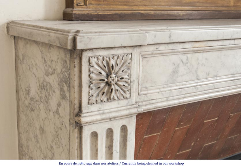An antique Louis XVI period fireplace, made out of Carrara marble, with stop-fluted and rosettes -3