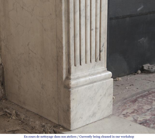 An antique Louis XVI period fireplace, made out of Carrara marble, with stop-fluted and rosettes -4